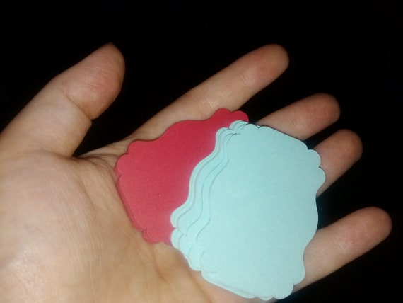 60 Red and Tiffany Blue/Aqua Tags, Perfect for Wedding Favors or Candy Buffet or Scrapbook Labels