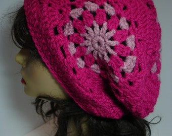 Hand Crocheted Customized Granny Square Tam Beret Hat