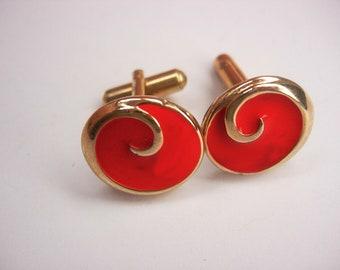 Vintage Red Enamel Cufflinks Stylized Wave Curl dramatic unisex gift  Modern Nautical