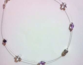 Crystal and Lavender Floating Bead Necklace