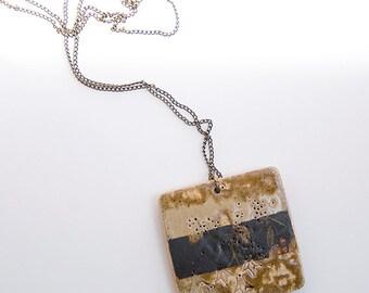 Handmade Stoneware nNecklace. Geometric Pendant. Ceramic Jewelry. Ceramic Pendant. Stoneware Pendant.