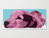 "Pastel Dachshund ""Apple Dapple"" 10x6 Pop Art Print Hot Dog Lavender Purple Pink Easter Wall Art Home Decor Weiner Doxie Bright Modern Long"