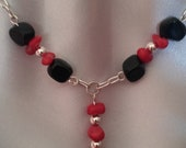 "Silver necklace & earring set, 22"", black onyx, red coral, and silver beads, FREE SHIPPING"