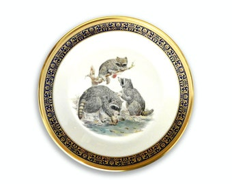 "Vintage Lenox Edward Marshall Boehm ""Raccoons"" collectors plate gold and blue border animal collectible 1973"