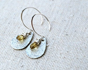 tryst... silver sapphire earrings / yellow tundra sapphire & sterling silver drop earrings / september birthstone