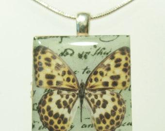Leopard Butterfly - Scrabble Tile Pendant - Yellow Spotted Butterfly - Scrabble Pendant Charm Necklace on Sterling Silver 925 bail & chain