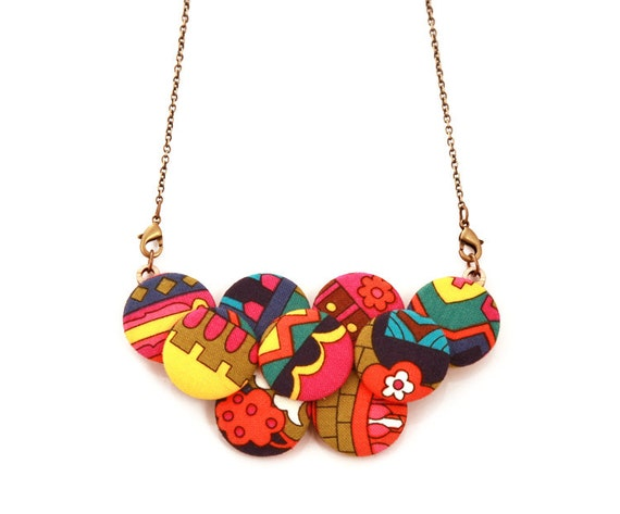 Psychedelic Print Statement Necklace