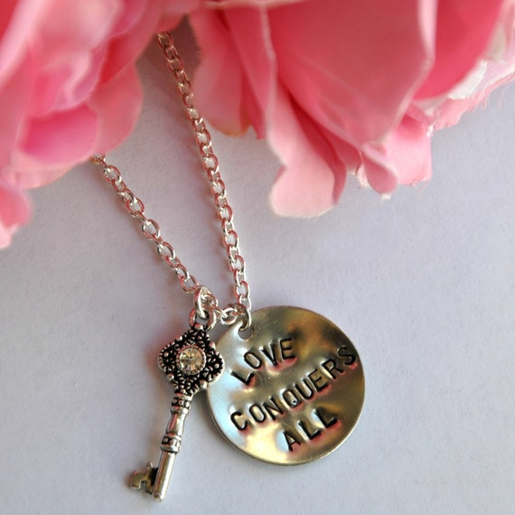 Hand Stamped Necklace - Love Conquers All - Skeleton Key - Nickel Silver Personalized Jewelry