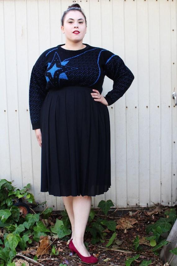 plus size vintage black pleated midi skirt size 14
