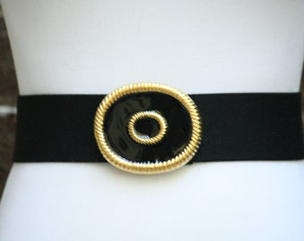 Black Waist Cincher Stretchy Vintage Belt 1980 Heavy Gold Metal Buckle