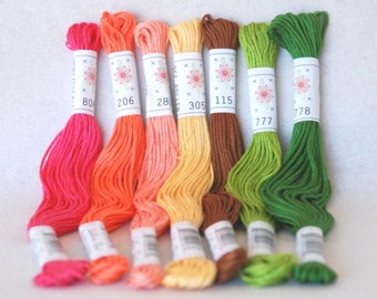 "Embroidery Floss ""Flowerbox Pallete"" - 7 Skeins Pack - Embroidery Thread by Sublime Floss"