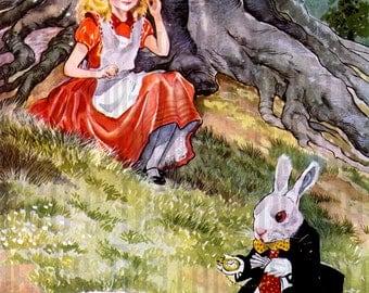 Alice in Wonderland Digital Download. Vintage Illustration. Alice and White Rabbit