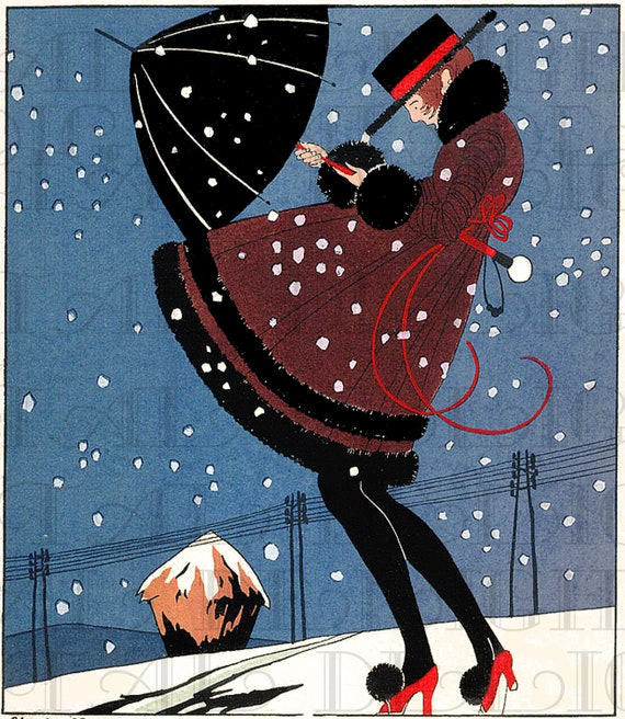 Snowstorm Lifts FLAPPER'S  Coat. VINTAGE  Illustration. Art Deco Digital New Year Eve Download