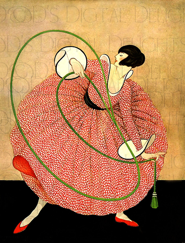 Superlative art deco flapper vintage illustration deco for Art deco illustration