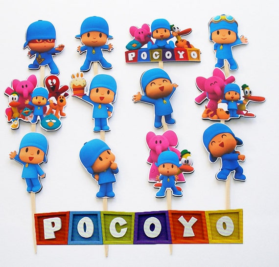 12 Pocoyo Birthday Party Cupcake Cake Toppers by KidsLoveEm