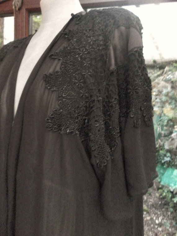 Vintage long black sheer chiffon gown antique lace and satin perfect treasure