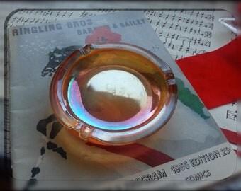 Carnival Glass Ashtray Iridescent Marigold