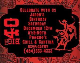 Adult  Western Theme Birthday Invitation