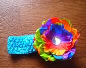 Rainbow Peony headband
