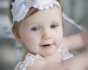 Baby headband, White Shabby Headband, Shabby Chic headband, Baby headbands, Baby girl headband, toddler headband
