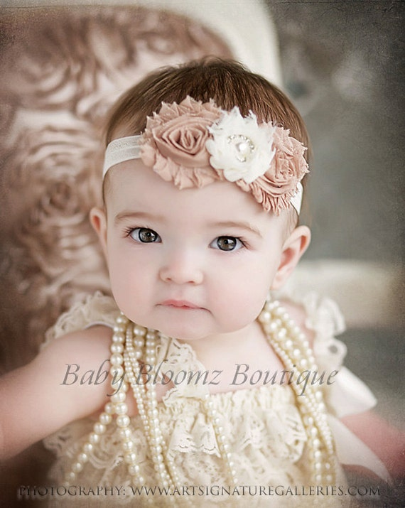 Baby Headband Ivory Beige Vintage Shabby
