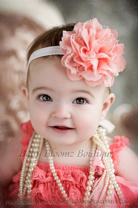 Baby Headband, Girl Headband, Peach Coral Lace Headband, Baby girl Headband, newborn headband, vintage headband toddler fabric headband