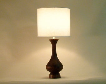 Genie Table Lamp. solid walnut with white linen or grasscloth drum shade, mid-century modern design