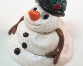 Snowman miniature art doll holiday christmas collectible OOAK clay