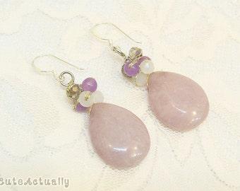 Pastel purple stone drop earrings with crystal - sterling silver ear wires, dangle, pale purple