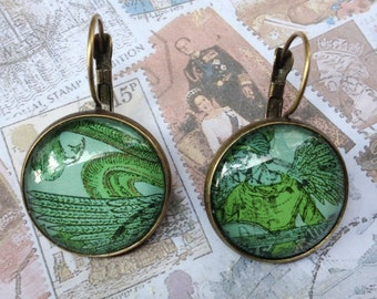 Emerald Angel One of a Kind Glass Dome Earrings Handmade with Real Vintage Postage Stamp, 20mm, 20-000006