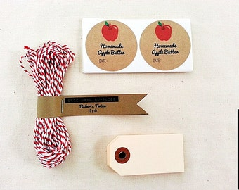 Apple Mason Jar Labels Gift Wrap Kit / Packaging Supplies / Apple Butter / Apple Sauce / Apple Pie Filling / Homemade Gifts Ideas
