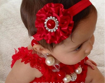 Red Sparkle Ruffle headband- Newborn Headband-  Baby Girl Headband - Toddler Headband - Christmas Headband-  Adult Headband