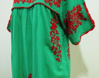 Mexican Embroidered Dress Split Sleeves Tunic In Green