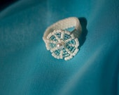 A ring made of white and light blue Japanese Miyuki Delica Seed Beads and white Swarovski pearls