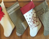 Houndstooth Christmas Stocking w/ Burlap Accent