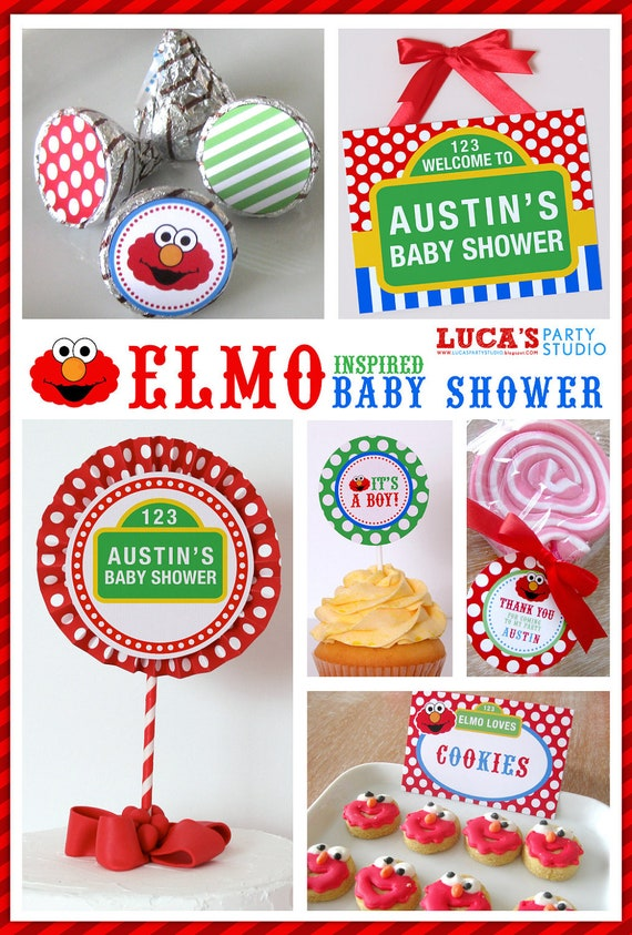 items similar to elmo sesame street inspired baby shower party diy