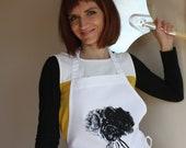 Women Aprons -  Kitchen Apron - Floral design Bib Apron Cotton Polyester Blend - Peony Apron