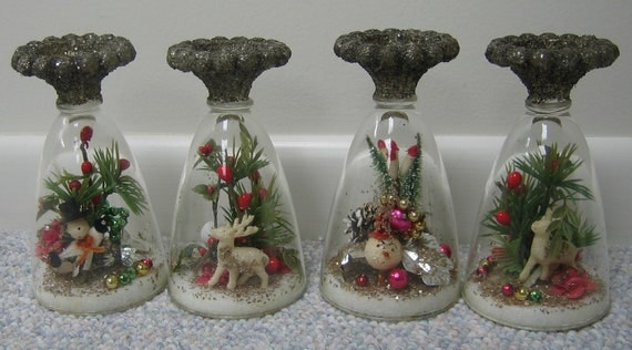 Vintage Christmas Decorations Domed Vignette Tabletop Decorations Ornaments Unique Set of 4