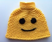 Lego Man crochet hat, size 2/3 toddler