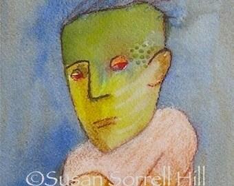 Monster Dance - original watercolor painting - surreal fantasy fairytale watercolour - Frankenstein dance - illustration - narrative