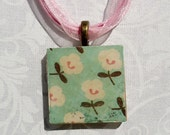 Pale Blue with White Flowers, Wood Tile Necklace