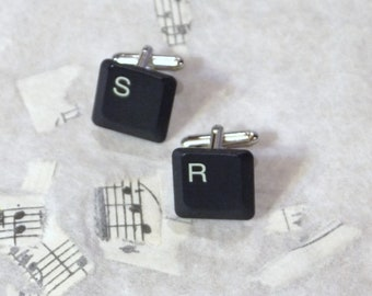 Your Initials Custom Upcycled Keyboard Computer Keys Cuff Links