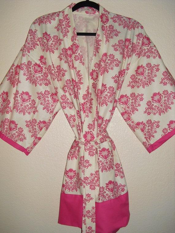 SALE - Was 70.00 - Kimono ROBE - Womens Pink Robe - Ready to ship - size M-L - Dressing Robe - Handmade