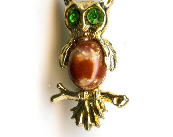 Owl Scatter Pins with Rhinestone Accents