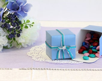 50x Baby Blue Wedding Favor Cube Boxes-Bridal Shower-Baby Shower-Party Favor-Candy Gift Box 2x2x2