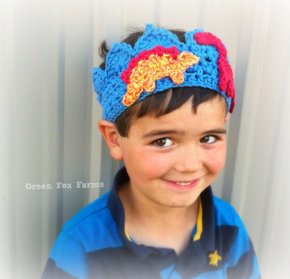 Boys Crochet Crown with Dinosaurs Little Boy Birthday Crown Little Prince Crown READY TO SHIP