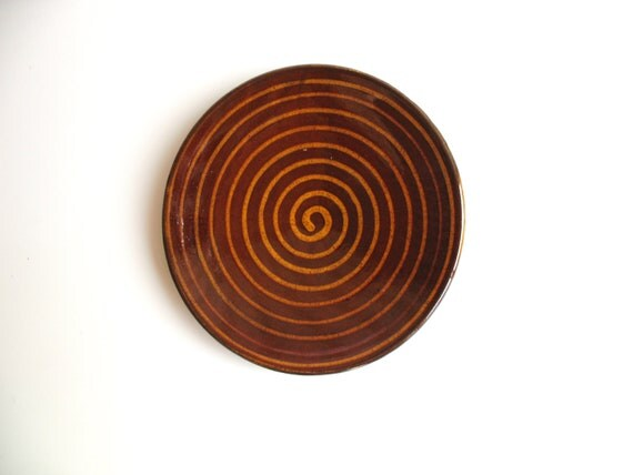 ceramic plate - glazed pottery - wheel thrown plate - rustic decoration - saffron yellow glazed plate - ready to ship