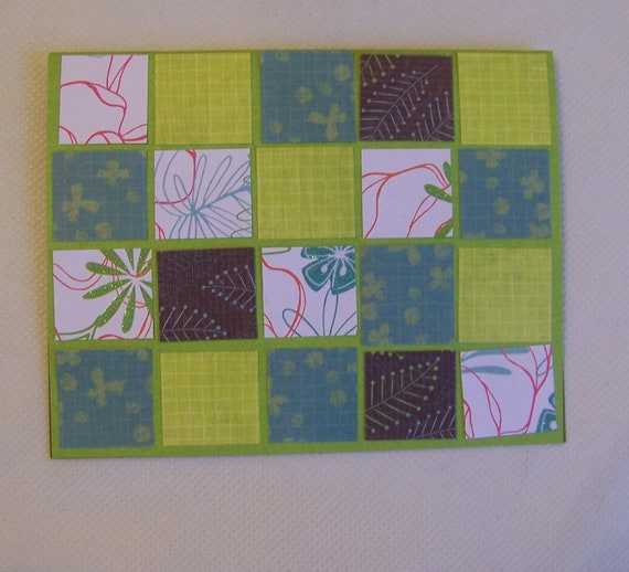 Mosaic Card in Teal, Brown, and Chartreuse, Blank, for Any Occasion, Made by Talented Girl of 12 Years