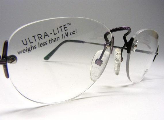 Eyeglass Frame Pieces : Rimless Eyeglass Frame 3 Piece Purple LOGO Mount Custom lens