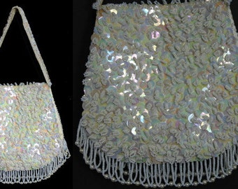 Vintage 1950s Bag Purse Beaded Handbag Faux Pearl Hollywood Femme Fatale Mad Man Made in Hong Kong Dress Designer Old Hollywood Wedding